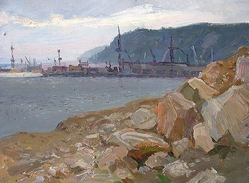 Kuibyshev Hydroelectric Power Station industrial landscape - oil painting