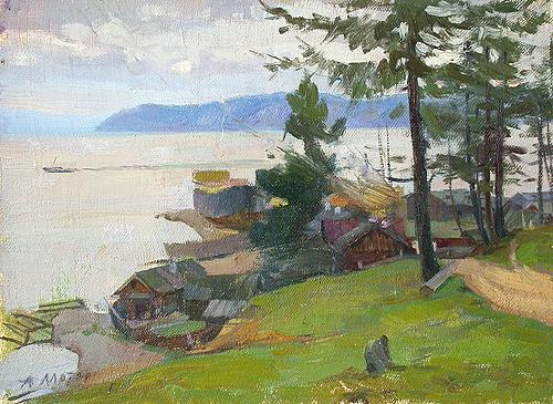 Shipyard at Lake Baikal rural landscape - oil painting