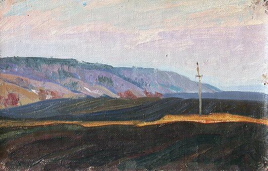 Winter Tillage. Evening autumn landscape - oil painting