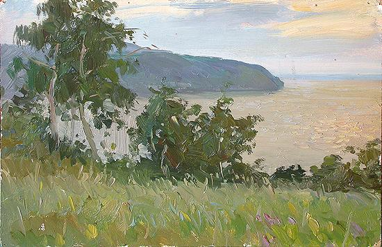 Over the Volga River summer landscape - oil painting