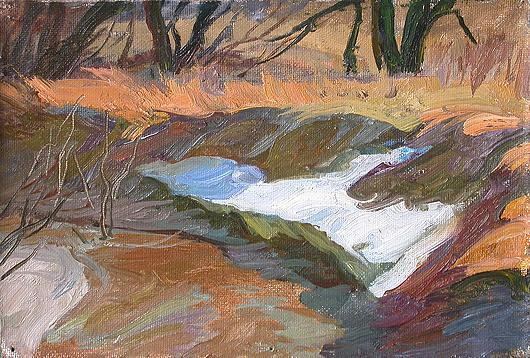 Spring Sketch spring landscape - oil painting