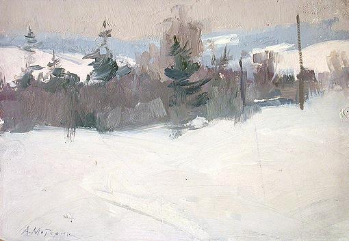 Little Forest winter landscape - oil painting