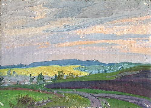 Sketch summer landscape - oil painting