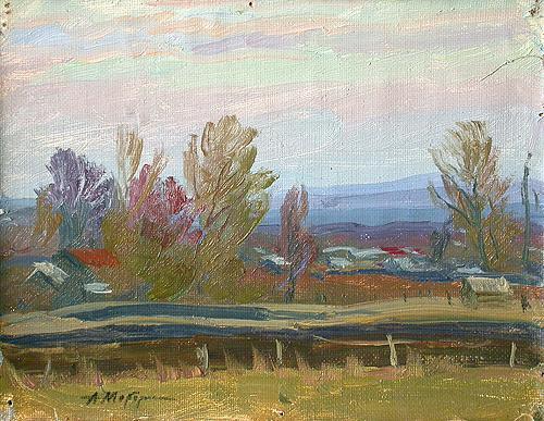 Autumn Day rural landscape - oil painting