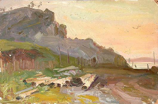 In the Zhigulevskiye Mountains rural landscape - oil painting