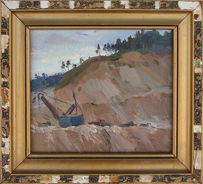 Карьер индустриальный пейзаж - масло живопись