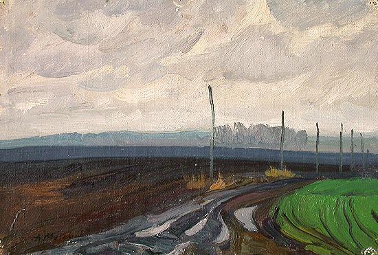 Autumn Field autumn landscape - oil painting