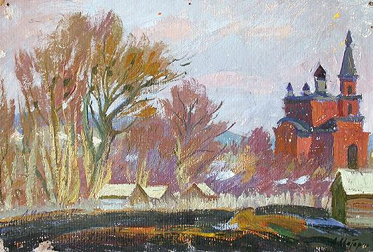 Spring in Molvino Village rural landscape - oil painting