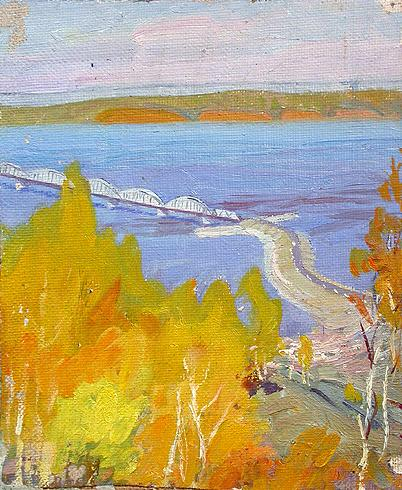 Autumn at the Volga River cityscape - oil painting