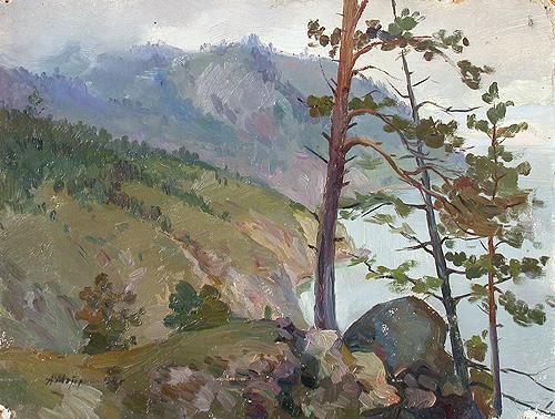 Rocky Bank of Lake Baikal mountain landscape - oil painting