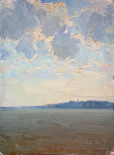 Clouds over the Volga River seascape - oil painting