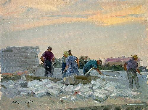 Building a House industrial landscape - oil painting