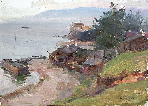 Верфь на Байкале деревенский пейзаж - масло живопись