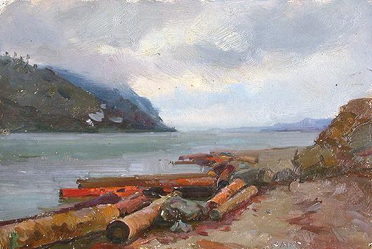 The Angara River autumn landscape - oil painting