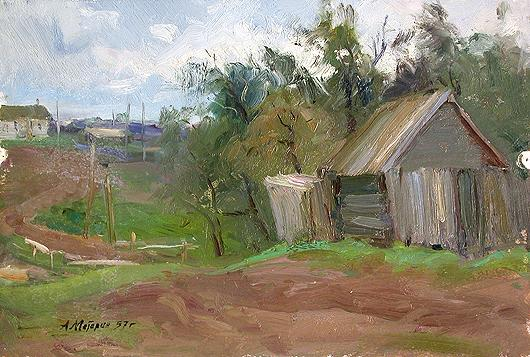 Dull Day rural landscape - oil painting