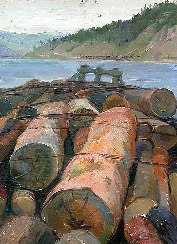 Logs at Lake Baikal industrial landscape - oil painting