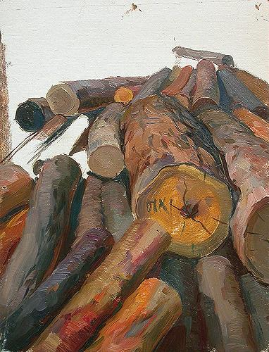 Logs. Sketch for Diploma Work industrial landscape - oil painting