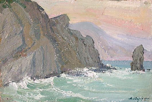 Шторм морской пейзаж - масло живопись