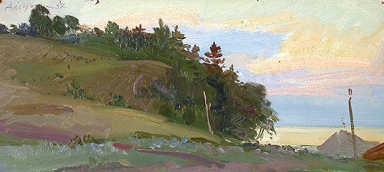 Evening in the Zhigulevskiye Mountains summer landscape - oil painting