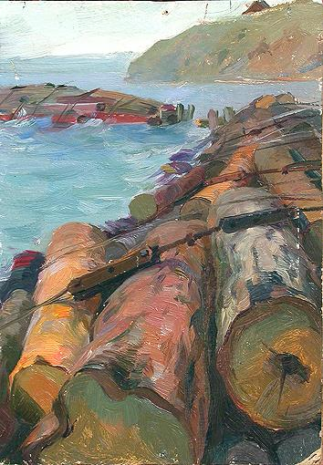 Logs. Sketch for a Painting industrial landscape - oil painting
