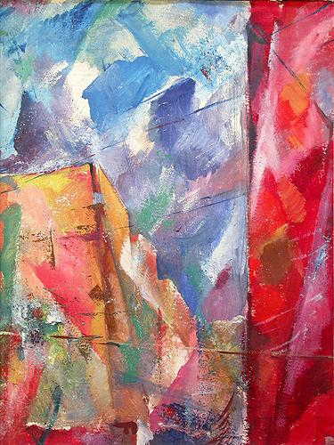 Red Wall abstract landscape - oil painting