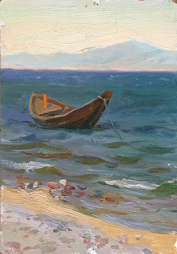 At the Sea seascape - oil painting