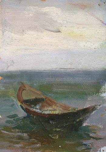Boat seascape - oil painting