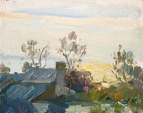 The Volga River rural landscape - oil painting