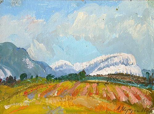 Vineyards in Gurzuf mountain landscape - oil painting