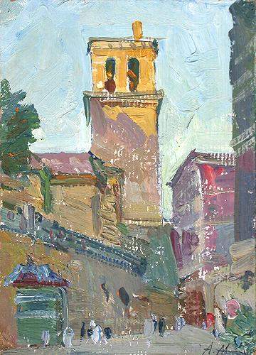 Ancient Tower cityscape - oil painting
