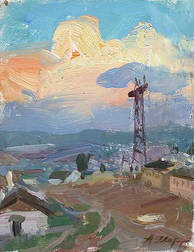 Cloud industrial landscape - oil painting