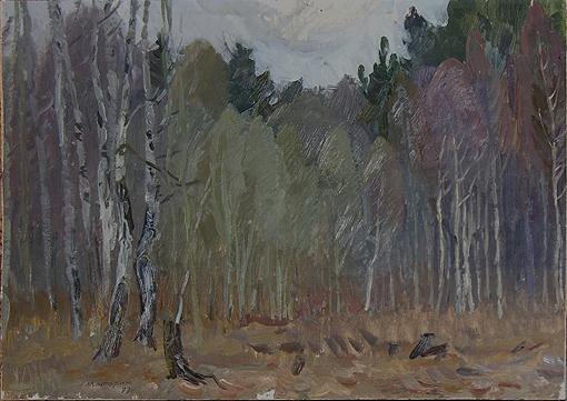 In the Forest autumn landscape - oil painting