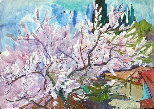 Tree in Blossom spring landscape - oil painting