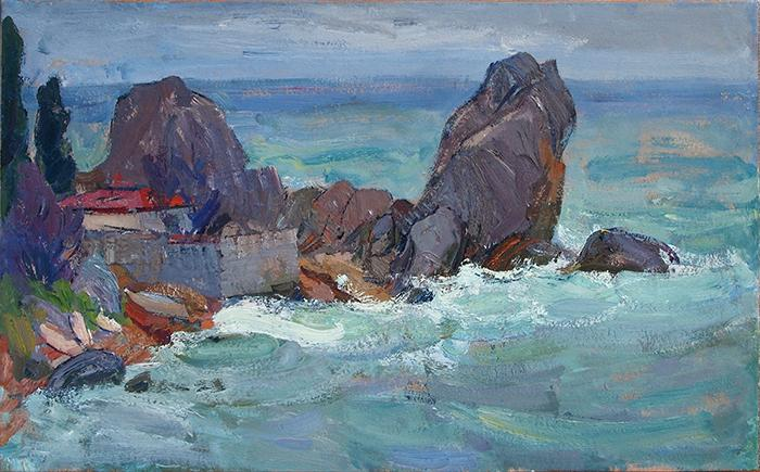 Chekhov Bay seascape - oil painting