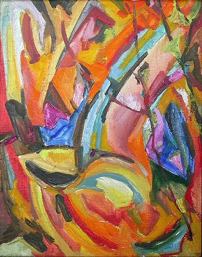 Начало лета абстрактный пейзаж - масло живопись