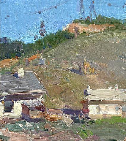 The Zhigulevskiye Mountains rural landscape - oil painting