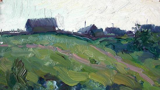 In the Outskirts rural landscape - oil painting