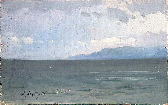 Dull Lake Baikal seascape - oil painting