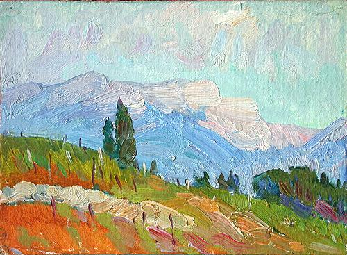 Bright Day mountain landscape - oil painting