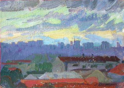 Evening. Madrid cityscape - oil painting