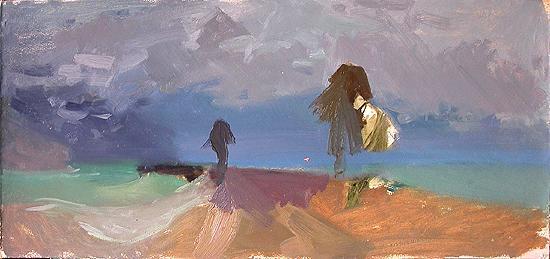 Sketch autumn landscape - oil painting