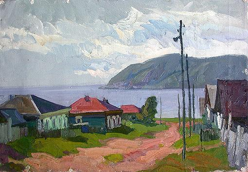 Near Nikolay's House rural landscape - oil painting