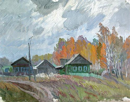 Village rural landscape - oil painting