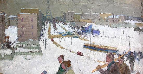 City social realism - oil painting