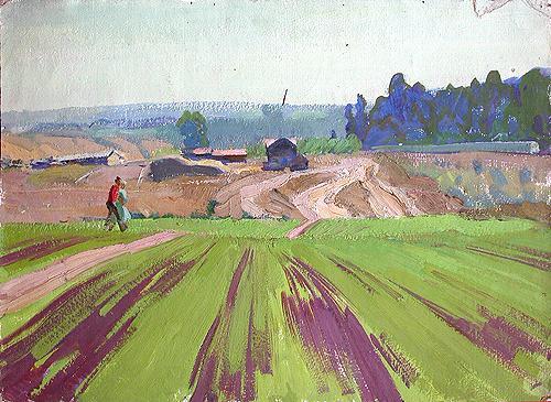 Field rural landscape - oil painting