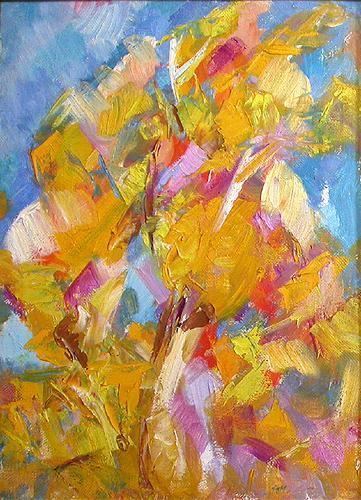 Берёзки абстрактный пейзаж - масло живопись