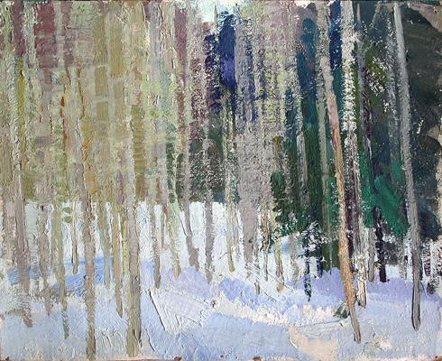 Winter Forest winter landscape - oil painting