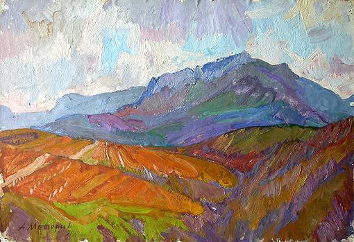 Crimea Mountains mountain landscape - oil painting