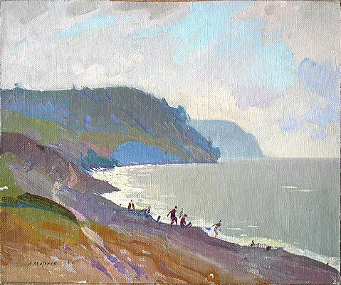 At the Volga River seascape - oil painting