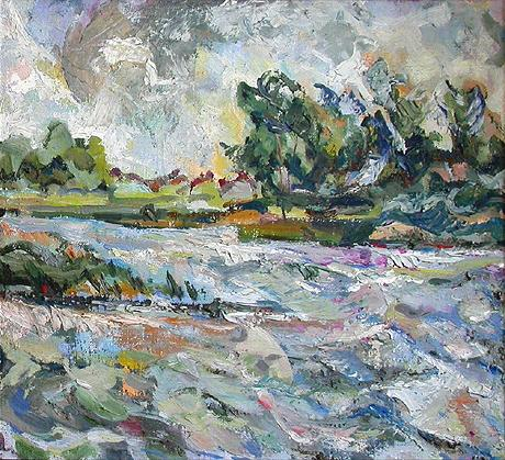Stormy Day summer landscape - oil painting